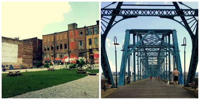 Left: Vacant lot turned pocket park, a-dorable. Right: Built in the 1890s, the Walnut Street Bridge was repaired for cyclist/pedestrian-only use instead of being demolished when the newer bridge opened. Unrealistic antasies of a similar fate for my beloved Bay Bridge tortured me every time I crossed this thing.